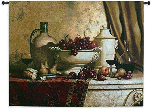 Italian Feast by Loran Speck | Woven Tapestry Wall Art Hanging | Fruit and Wine Still Life Rembrandt Style | 100% Cotton USA Size 66x53