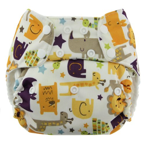 Blueberry Organic One Size Simplex All in One Cloth Diapers, Made in USA (Jungle Jam)