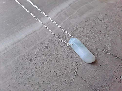 Aquamarine March Birthstone Minimalist Slab Pendant Necklace Sterling Silver