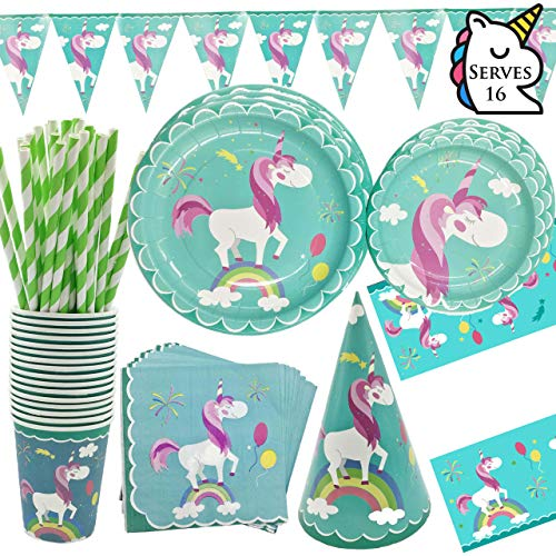 Unicorn Theme Party Supplies Set and Tableware Kit, Kids Baby Girls Birthday Baby Shower Decorations and Birthday Party Supplies with Banner Plates Cups Napkins Straws Hat Tablecloth, Serves - Hat Party Birthday Custom