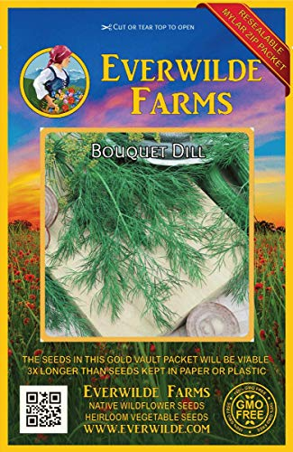 Everwilde Farms - 2000 Bouquet Dill Herb Seeds - Gold Vault Jumbo Seed Packet (Bouquet Dill Seeds)
