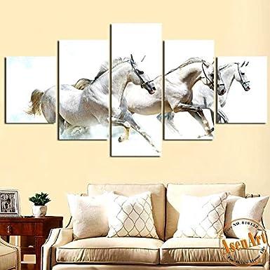 Lonadecorativa modernapintada con spray de5 piezas de cuadros de pared de caballos galopantes para vivir