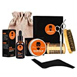 Beard Grooming Kit for Men - Wumal Ultimate Beard Care Kit with Unscented Leave-in Conditioner Oil, Beard Balm, Boar Beard Brush, Wood Comb, Beard Shaping & Mustache Scissors, Perfect Gift for Men
