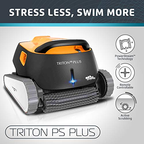 (Dolphin Triton PS Plus Automatic Pool Cleaner with Bluetooth and Extra-Large Filter Basket, Ideal for In-ground Swimming Pools up to 50 Feet.)