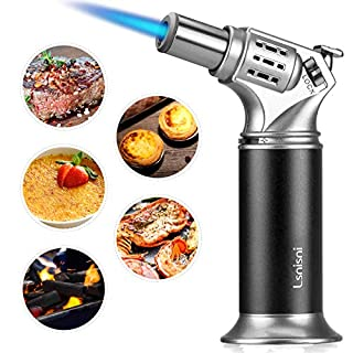 Lsnisni Butane Torch, Refillable Culinary Blow Torch Lighter with Safety Lock & Adjustable Flame for Creme Brulee, Cooking, BBQ, Baking, DIY Soldering (Butane Gas not Included) (Red)