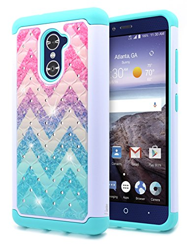 ZTE Grand X Max 2 Case, ZTE Max Duo LTE Case, ZTE Imperial Max Case, NageBee [Hybrid Protective] Armor Soft Silicone Cover with [Studded Rhinestone Bling] Design Hard Case (Wave) - Lte Grand X Max Cases