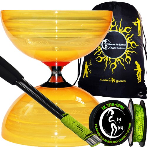 Sundia Shining (Orange) Profi Komplett-Diabolo Set (The Best Freilaufdiabolo) mit Freiläufer (3K Dreifach-Kugellager), Diablo CARBON-Handstäbe und Diaboloschnur 10m Rolle ULTRA SPIN +Reisetasche! Jongliergeräte