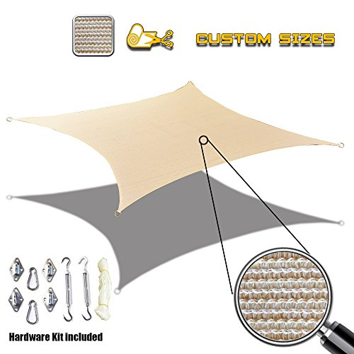 Alion Home Custom Sized Sun Shade Sail with Stainless Steel Hardware Kit – Rectangle, Banha Beige 8 x 14
