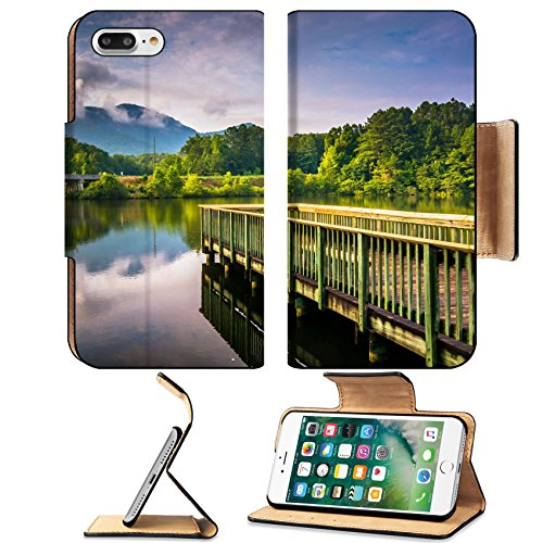 Luxlady Premium Apple iPhone 7 Plus Flip Pu Leather Wallet Case iPhone7 Plus 31103475 Small pier and view of Table Rock at Lake Oolenoy Table Rock State Park South - Pier Stores Park