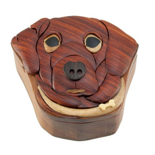 Dog - Wooden Puzzle Box - Handcrafted with hidden ()