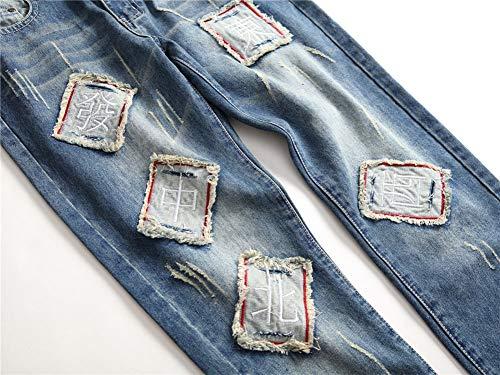 1 Bordado Heterosexual Parche Versaces Claro Media Hombres Color Ajustado Corte Azul Jeans Cintura Jeans aqRxOtwxB