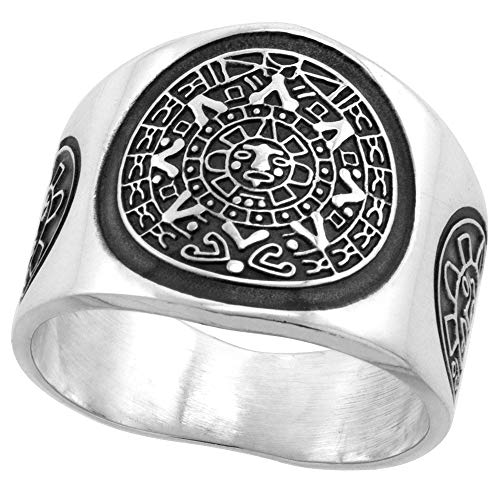 Sterling Silver Aztec Calendar Ring for Men Mayan Sun Sides 18mm Wide, Size 12