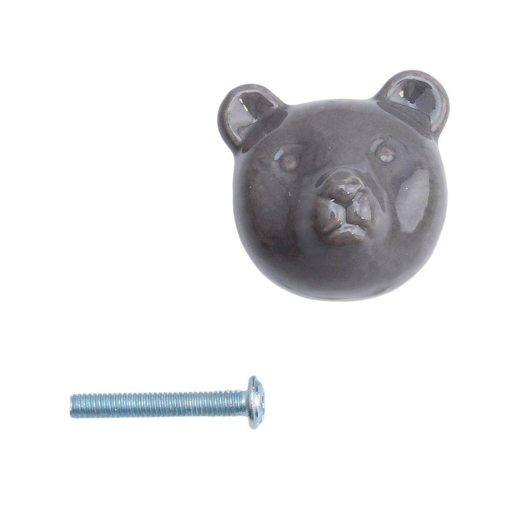 grey Lalang Bear Ceramic Knobs Vintage Drawer Handles Pulls for Wardrobe Cupboard Dresser Cabinet Closet Kitchen Furniture with Screws