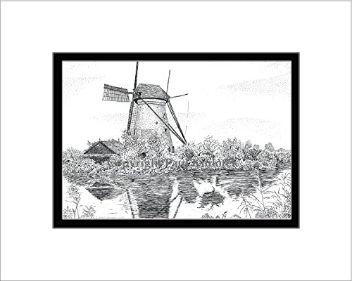 Kinderdijk Windmill, Open Edition, Matted Pen and Ink - Open Mills