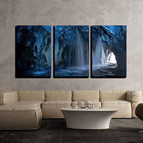 Cave Waterfalls Streams x3 Panels