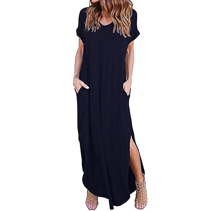 Amlaiworld_Vestidos largos Vestidos Largos Mujer, Verano de Playa Suelta Gallus de Mujer Vestido Elegantes para Boda de Noche Vestidos Mujer Casual Tallas ...