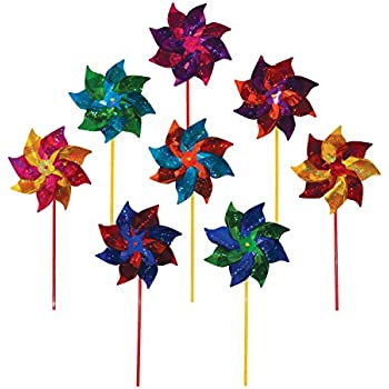In the Breeze Best Selling Mylar Rainbow Pinwheel - Assorted 2 Tone Color Spinners - 8 Piece Bags