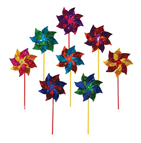 Rainbow Stake - In the Breeze Best Selling Mylar Rainbow Pinwheel - Assorted 2 Tone Color Spinners - 8 Piece Bags