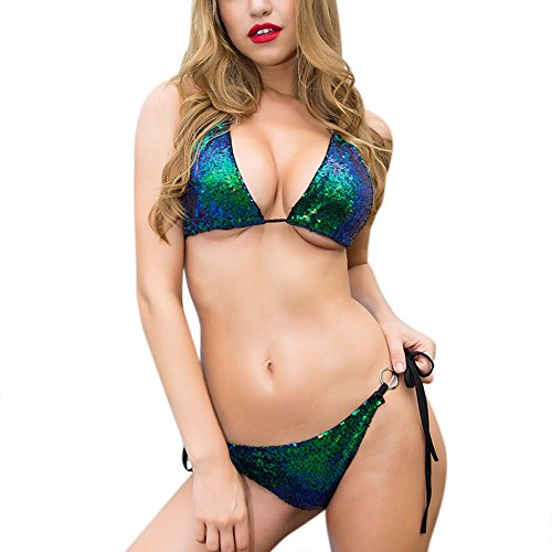 Tankini Top Halter Ring (RARITY-US Women Sparkle Glitter Swimwear Sequin Bikini Shiny String Bra Sexy Swimsuit Beach Wear)