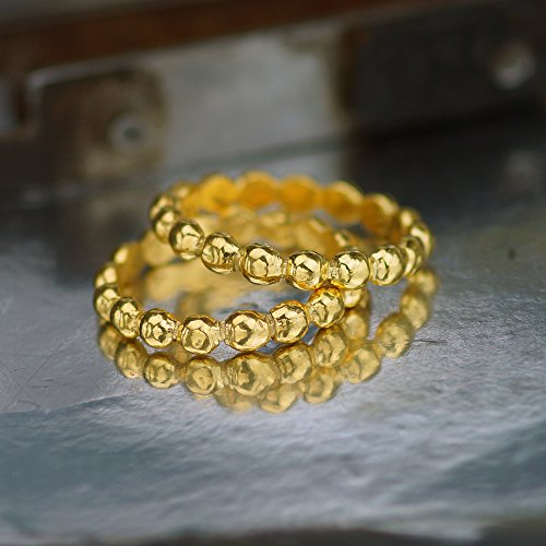 Sterling Silver 2 Pcs Stackable Ring Set 24k Gold Vermeil Handcrafted Turkish Jewelry