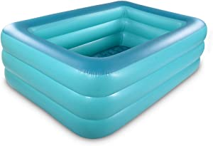 HIWENA Inflatable Family Swim Play Center Pool, 82 inches Gaint Blow Up Pool Summer Water Fun with Inflatable Soft Floor for Family, Garden, Outdoor, Backyard (82IN Green)