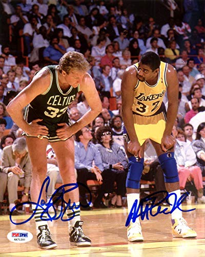 (Magic Johnson & Larry Bird Autographed 8x10 Photo PSA/DNA ITP Stock #119622 )