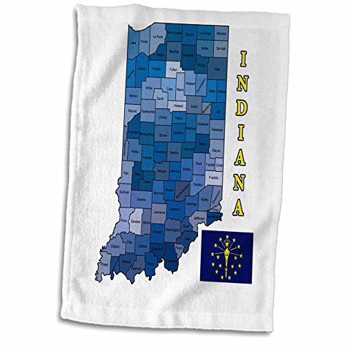 3D Rose Flag Map the State of Indiana. Counties Labeled Colored twl_185103_1 Towel, 15
