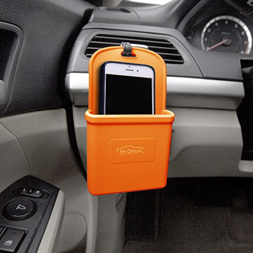 FH Group FH3022ORANGE Orange Silicone Car Vent Mounted Phone Holder (Smartphone works with IPhone Plus Galaxy Note Orange Color) ()