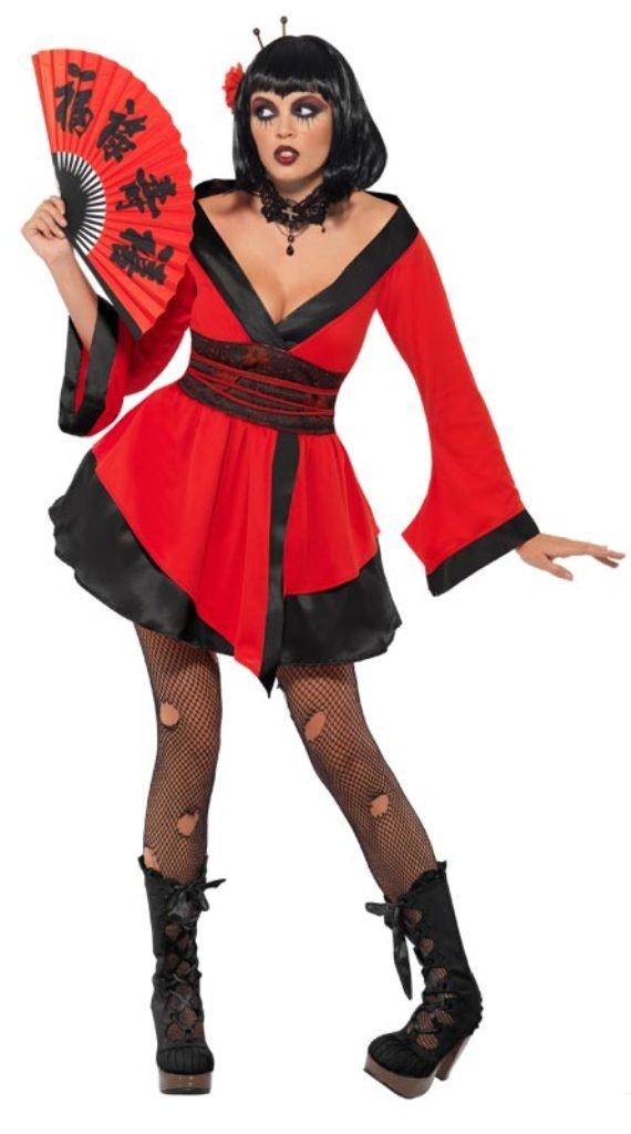 Smiffys - Disfraz de geisha gótica para mujer, talla UK 8 ...
