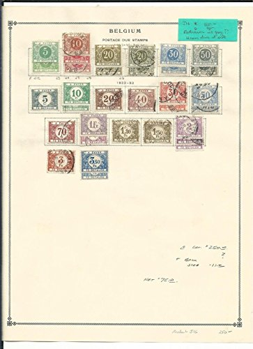 Belgium Collection Postage Dues 1895-1938 on 2 Scott International Pages 1895 Postage