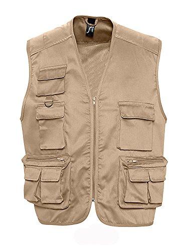 SOL'S - gilet reporter multipoches - veste légère sans manches BODYWARMER - 43630 - taille M - beige - mixte homme femme