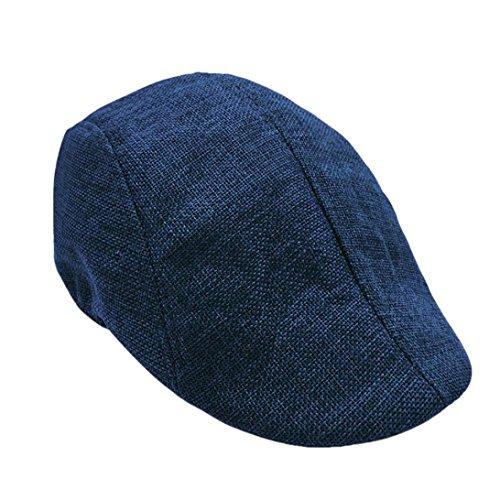 Unisex Vintage Flat Hat Ivy Irish Hats Gatsby Newsboy Cap Cabbie Hat Stretch (Navy) by Kintaz (Image #1)