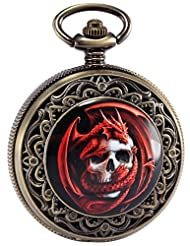 AMPM24 Mens Steampunk Death Skull Pirate Red Dragon Retro Pendant Pocket Watch Gift WPK172