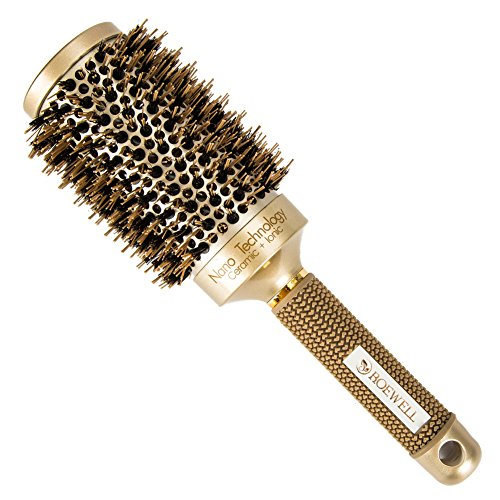 Roewell Thermal Ceramic Ionic Round Barrel Anti-Static Hair Brush with Boar Bristle, 2.1 Inches ,Professional Brush for Protecting Hair, Adding Hair Shine , For Hair Drying, Styling, Curling from Roewell