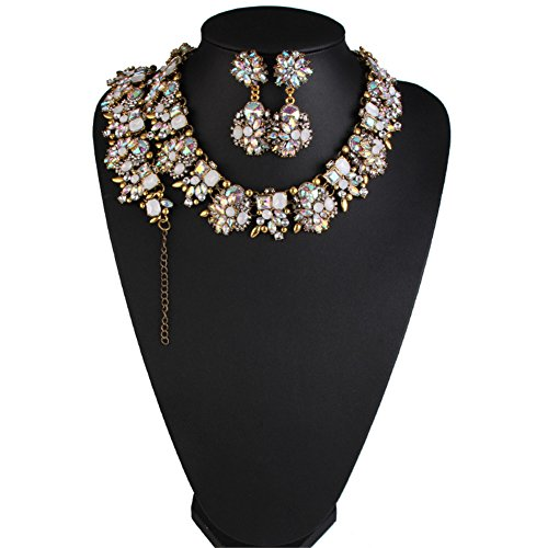 NABROJ Vintage Statement Choker Necklace Bracelet Earrings Set Costume Jewelry for Women-HLN001 Crystal 3pcs Set