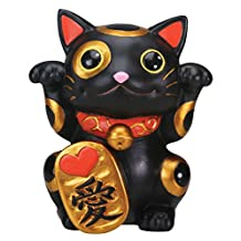 StealStreet Black Maneki Neko Money Lucky Cat Chinese Japanese Statue