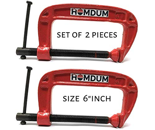Homdum® Heavy Duty G Clamp | C Type Clamping Tool | Pack of 2 Pieces (6 inch) Price & Reviews