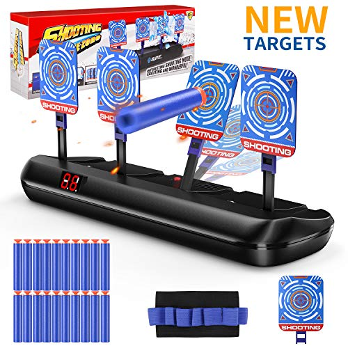 DG-Direct Upgraded Electric Scoring Auto Reset Shooting Digital Target for Nerf Guns Blaster Elite/Mega/Rival Series with 20 Pcs Refill Darts and 1 Hand Wrist Band and 1 Alternate Scoring Target. (Target For Gun)