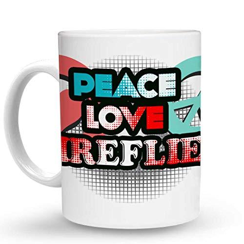 Makoroni - PEACE LOVE FIREFLIES - 11 Oz. Unique COFFEE MUG, Coffee Cup -