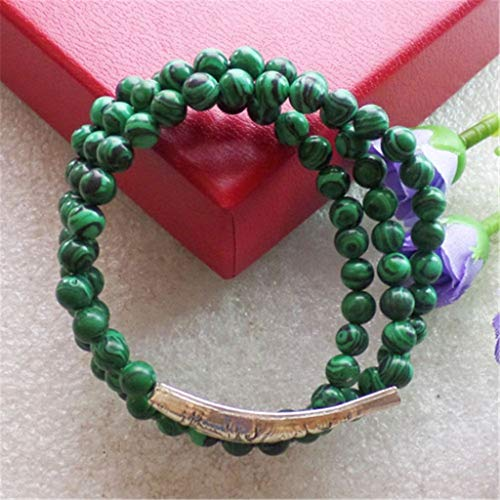 Naomi Fashion Three Strands Woman Bracelet can do Both can do Necklace Man-Made Malachite Beaded Bracelet with Tibet Silver Fish Charm F239