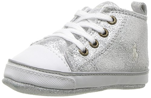 Ralph Lauren Layette Girls' Sag Harbour Hi Silver Boot, Silver Leather, 1 M US Infant (Harbour Leather)
