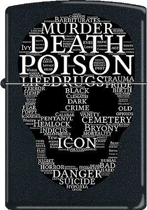 Death Skull of Words ~ Grim Reaper ~ Black Matte Zippo Lighter