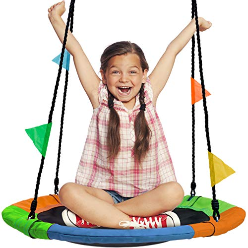 "Sorbus Saucer Tree Swing in Multi-Color Rainbow - Kids Indoor/Outdoor Round Mat Swing - Great for Tree, Swing Set, Backyard, Playground, Playroom - Accessories Included (Round - 24"")"