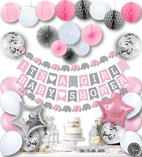 RainMeadow Premium Baby Shower Decorations for Girls Kit | It's A Girl | Garland Bunting Banner, Paper Lanterns, Honeycomb Balls | Tissue Paper Fans | Pink Grey White | Elephant -