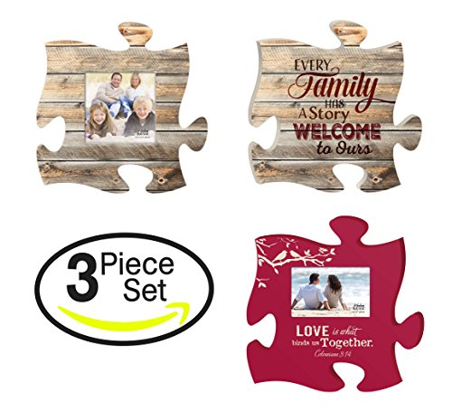 - P. GRAHAM DUNN Every Family Love Binds Together Puzzle Piece Interlocking Wall Plaque and Photo Frames Set of 3