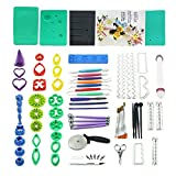 73pcs Gum Paste Flower & Leaf Tools Kit with 36 Flowers Cutter Set,2 Impression Mat,8 Modelling Tool,Baking Book,4 Ball Tools,3 Flowers Drying Rack,6 Filling Stick,7 brush,6 Set Cake Decorating Tools