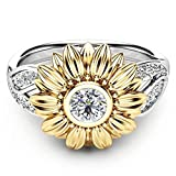 Women's Large Sunflower Statement Cocktail Ring Exquisite 18K Gold Plated Two-tone Round Cut Created White Diamond CZ Birthstone Promise Eternity Rings