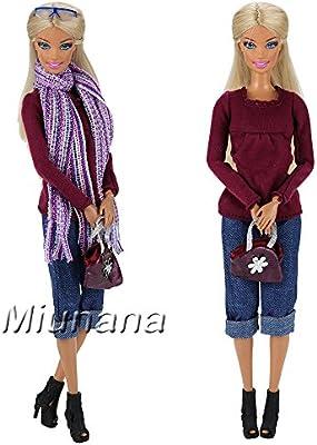 Miunana 1x Ropa con Bufanda Bolso Pantalones Zapatos Camiseta de Manga Larga Gafas de Sol Accesorios como Regalo para Muñeca Barbie Doll