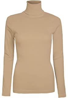 0f3ab444596b2f AHR_Manchester_UK Womens Ladies Plain Long Sleeve Turtle Polo Neck Top Roll  Neck Top…