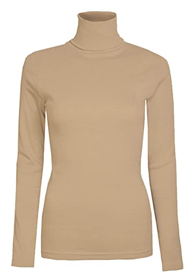 c2c046ff745 AHR Manchester UK Womens Ladies Plain Long Sleeve Turtle Polo Neck Top Roll  Neck Top Jumper 8-26  Amazon.co.uk  Clothing